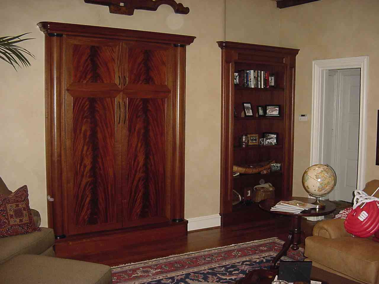 Mahogany entertainment center and bookcase